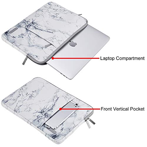 MOSISO Laptop Sleeve Case Compatible with 13-13.3 inch MacBook Pro, MacBook Air, Notebook Computer, Polyester Vertical Painting Marble Bag with Pocket