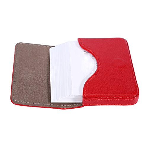 Leather Business Name Card Holder Case Wallet Credit Card Book with Magnetic Shut (Red)