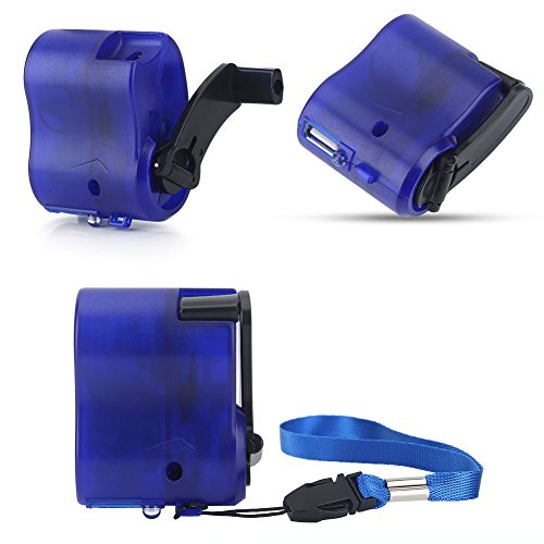 - Mini Hand-Crank USB Radio Flashlight Cell Phone Charger Portable Manual Emergency Power Generator Charger for Travel Wild Indoor Power Outage(Blue)