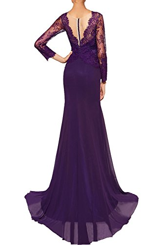 Abendkleider langer Ausschnitt Spitze Damen Blaugruen Promkleider Cocktailkleider Chiffon V Schleppe mit Ivydressing Vintage Partykleider Neu Aermel wR0Bnq1UT