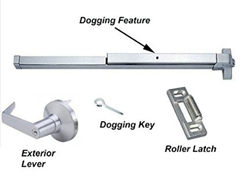 Door Exit Devices - Dynasty Hardware Push Bar Panic Exit Device Aluminum, With Exterior Lever