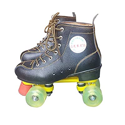 WE&ZHE Classic High-Top Four-Wheeled Roller Skates,Skate Gear Soft Classic Faux Leather Roller Skates - for Indoor and Outdoor Sports,36: Home & Kitchen