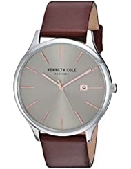 Kenneth Cole New York Mens Classic Quartz Stainless Steel and Leather Dress Watch, Color:Brown (Model: KC15096003)