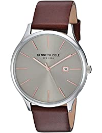 Men's 'Classic' Quartz Stainless Steel and Leather Dress Watch, Color:Brown (Model: KC15096003)