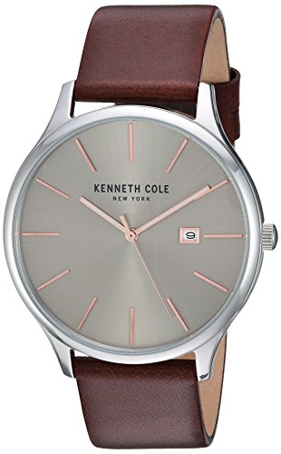 Kenneth Cole New York Men's 'Classic' Quartz Stainless Steel and Leather Dress Watch, Color:Brown (Model: KC15096003)