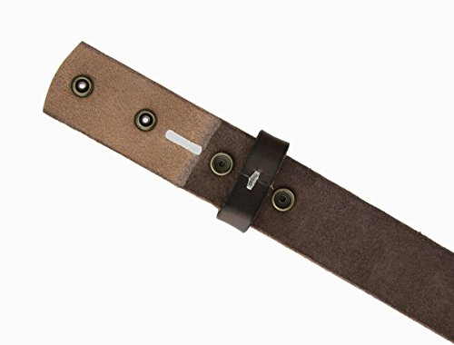 "BS-40 Vintage Full Grain 100% Leather Distressed Style Snap on Belt Strap 1 1/2"" Wide"