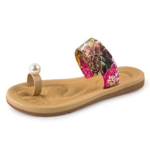 fracasos de la Rojo de de Transer zapatos 1Pair 2016 verano mujeres los del tirón Bohemia planos Las holgazanes los sandalias de manera 1Y6q0