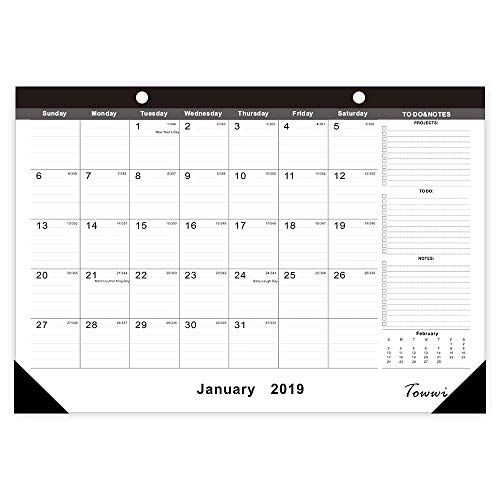 "TOWWI 2018-2020 Year Monthly Desk Pad Calendar, 16.8"" x 11.7"" Desktop Wall Calendar for Daily Schedule Planner, September- February"
