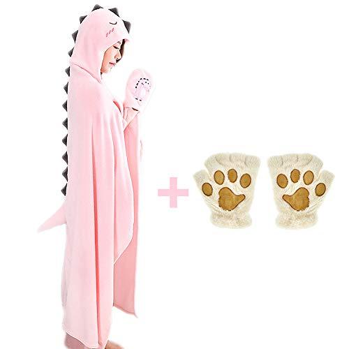 (Elibelle Kids Teenager Critter Wearable Hooded Blanket Gloves Set(Pink) PIF01)