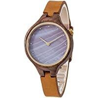 Wood Watch, Bosan Wrist Watch for Women Unique Shell Dial Genuine Leather Strap Fashion Analog Quartz Wooden Watch