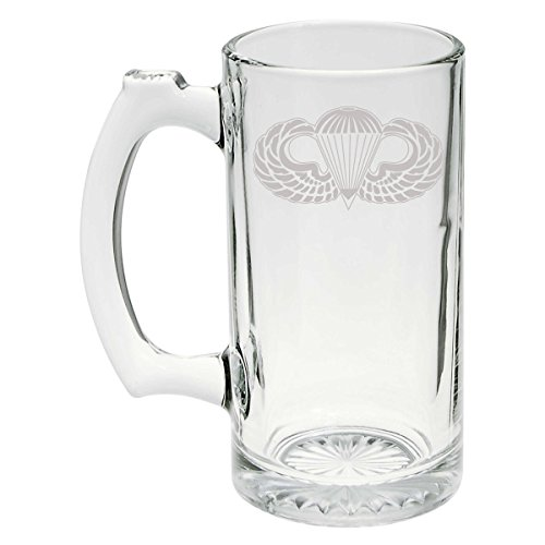 US Army - US Airborne Parachutist Badge Wings SSI Patch Etched Stein Glass 25oz, Mug