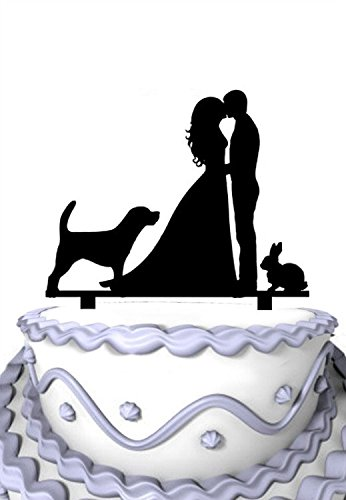 Meijiafei Kissing Bride and Groom with Dog Bunny Silhouette Wedding Acrylic Cake Topper]()