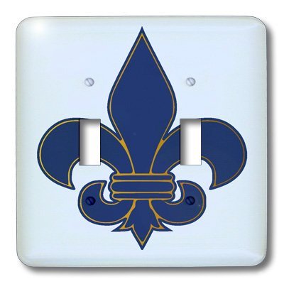 3dRose lsp_22361_2 Large Navy Blue And Gold Fleur De Lis Christian Saints Symbol Double Toggle Switch by 3dRose