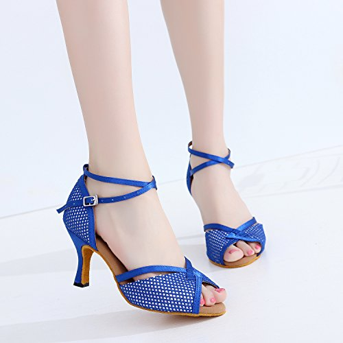 Wedding Blue Cha Satin Party Salsa Tango Cha Latin Heel Kitten Strap Dance Toe Sudue CFP Shoes Sole 7111 Ballroom Womens Peep Ankle x1q0qAwP