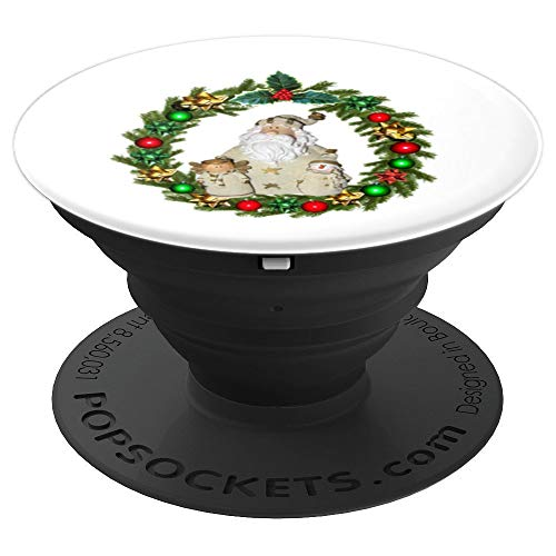 HAB POP : Christmas wreath poinsettia with figures in inside - PopSockets Grip and Stand for Phones and Tablets