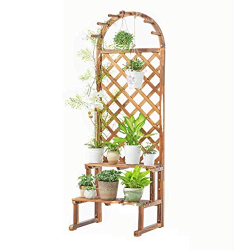 MinMin Floor-Standing Flower Stand - Flower Pot Frame Bamboo Wood 2 Layer Floor Folding Multi-Layer Solid Wood Wood Color Corner 60cm 50cm 175cm Plant Container