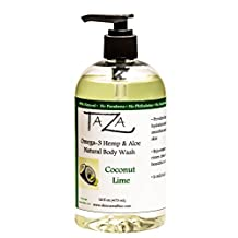 Premium Taza Natural Omega-3 Hemp & Aloe Coconut Lime Body Wash, 16 fl oz (473 ml) ♦ For Soft Smooth Skin ♦ Contains: Omega-3 Hemp Seed Oil, Aloe Seed Juice, Chamomile Flower, White Willow Bark Extract, Glycerin