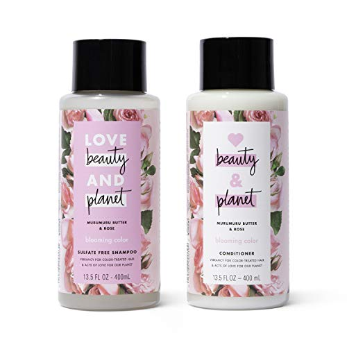 Love Beauty & Planet Rose Shampoo and Conditioner for Color Treated Hair, Silicone Free, Paraben Free and Vegan, 13.5 oz…