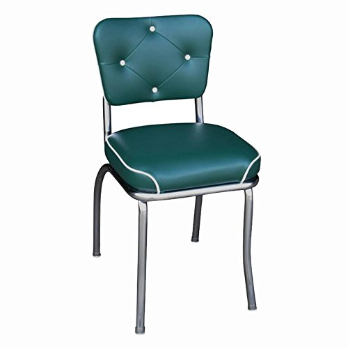 Price comparison product image Richardson Seating Retro 1950s Chrome Button Tufted Back Waterfall Seat Diner Chair in Green