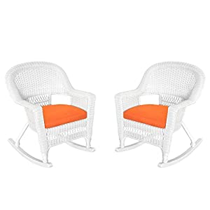 Jeco Inc. Jeco W00206R-B_2-FS016 Rocker Wicker Chair with Orange Cushion, Set of 2, White