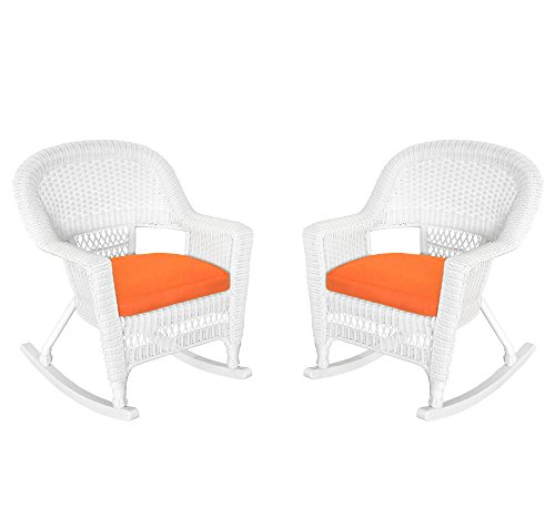Jeco Inc. Jeco W00206R-B_2-FS016 Rocker Wicker Chair with Orange Cushion, Set of 2, White