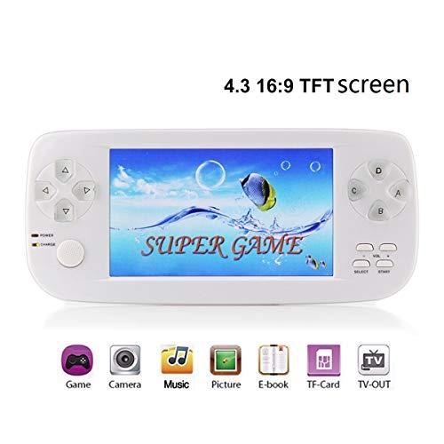 (MJKJ Handheld Game Console , Portable Video Game Console 4.3 Inch 650 Classic Retro Game Console Pap-KIII , Support GBA / GBC / GB / SEGA / NES / SFC / NEOGEO - White)