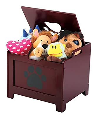 Pet Toy Supplies Wooden Storage Box With Hinged Lid, Die-Cut Paw Print