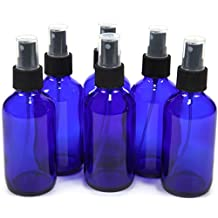 6 New, High Quality, 4 oz Cobalt Blue Glass Bottles, with Black Fine Mist Sprayer