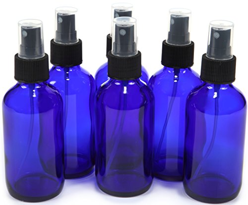 Glass Bottles Tall - Vivaplex 6, Cobalt Blue, 4 oz Glass Bottles, with Black Fine Mist Sprayer, 6 Pack