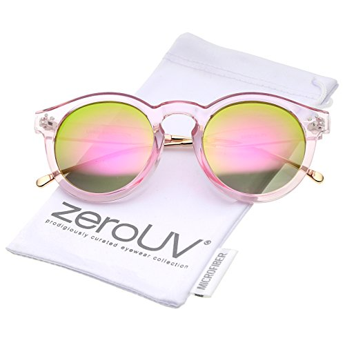 Transparent Metal - Transparent Metal Temple Keyhole Bridge Mirror Lens P3 Round Sunglasses 50mm (Pink-Gold/Pink Mirror)