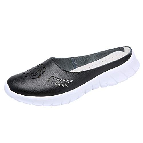 (Respctful✿Women's Casual Slip-On Shoes Mules Flat Closed Toe Loafer Ladies Fashion Breathable Slippers Shoes Black)