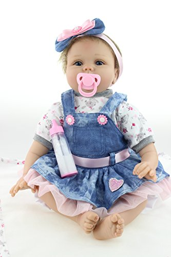 iCradle Soft Vinyl Silicone Reborn Toddler Baby Girl Doll 22 Inch 55cm Real Lifelike Looking Realistic Newborn Dolls Magnetic Mouth Kids Playmate Xmas Gift