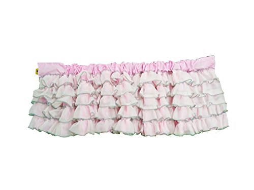 Baby Doll Bedding Layered Window Valance, Pink/Grey