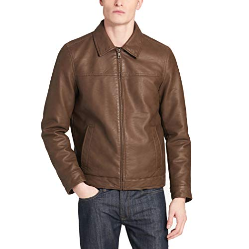 - Dockers Men's James Classic Faux Leather Laydown Collar Open Bottom Jacket, Earth, X-Large