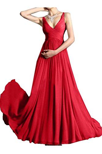 Partykleid A Einfach Damen Rot Linie Promkleid V Abendkleid Festkleid Ivydressing Traeger Ausschnitt 710wI