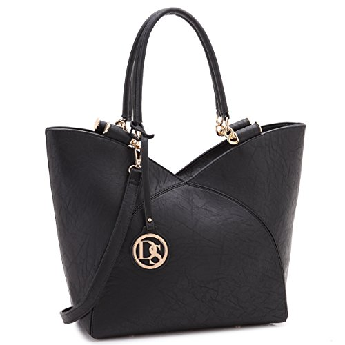 MMK Collection Large Fashion Designer Women Tote Handbag ~Vegan Leather All-Season Colors(7608)~Thanksgiving Gifts for Mom/Daughter~Presents for Women~signature Classic purse(Single Tote 2645-Black)
