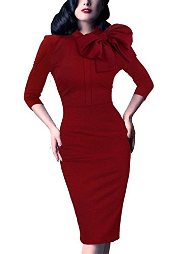 Tobyak Women's Vintage Style Retro 1940s Ruched Waist Flared Pencil Dress Wine Red1Small Fashion (70s Womens Hairstyles)