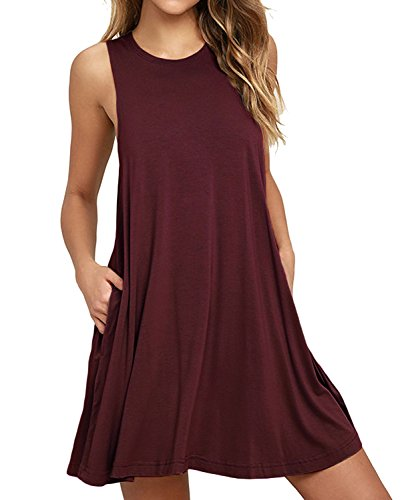 HiMONE Women's Sleeveless Loose Plain Dresses Casual Short Dress with Pockets Wine Red Small