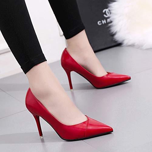 Yukun zapatos de tacón alto Zapatos De Mujer De Visón De Tacón Alto Acentuados De Otoño con La Boca Poco Profunda Zapatos Solos De Wild Negro, 34, Gris Red