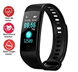Activity Trackers Sport Smart Watch Color Screen Fitness Tracker Heart Rate Blood Pressure Monitor Bluetooth Wearable Technology Wristband Step Counter Smart Bracelet for Android and iOS (Black)