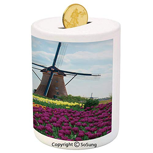 SoSung Windmill Decor Ceramic Piggy Bank,Bedding Plants of Netherlands Farm Country Heritage Historical Architecture 3D Printed Ceramic Coin Bank Money Box for Kids & ()