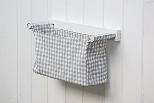 Wall hanging organizer - with 1 storage bin - IKEA Berta Ruta in grey for baby boys - diaper caddy, organizing