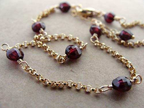 Dainty garnet anklet, checkerboard cut stones on fine goldfill chain, 9-10 inches, handmade, Let Loose Jewelry