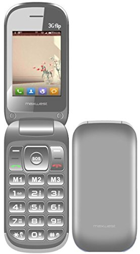 (Flip Phone 3G GSM Unlocked BIG BUTTONS Dual Sim Maxwest 3G FLIP Bluetooth Mp3 Camera SOS Elderly (Silver))