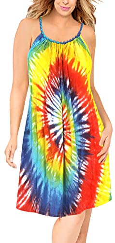 Dye Tie Dress Heart - LA LEELA Women's Summer Tunic Top Swing T-Shirt Loose Beach Sundress Swim Cover Up Rayon Tie Dye Orange_L311