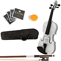 Mendini 13-Inch MA-White Solid Wood Viola with Case, Bow, Rosin, Bridge and Strings