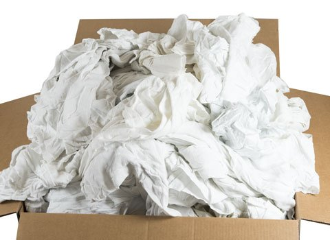 RagLady Recycled White Flannel Rags 18'' x 18'' - 40 Pounds in a Box by RagLady
