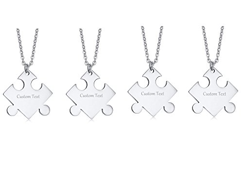 VNOX Free Engraving-Stainless Steel Puzzle BFF Necklace Set for Best Friend Bridesmaid,4 Piece