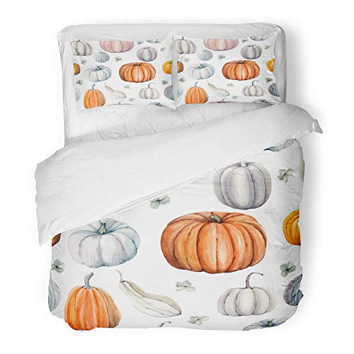 Emvency Decor Duvet Cover Set King Size Autumn Watercolor Pumpkins It is Perfect for Thanksgiving Halloween Design Recipe 3 Piece Brushed Microfiber Fabric Print Bedding Set Cover -