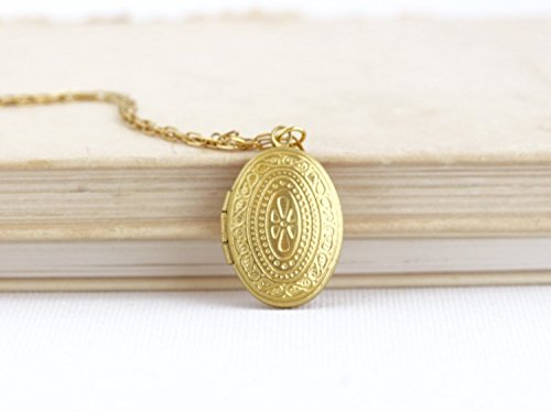 Small, delicate oval gold brass locket pendant necklace - 20 inch chain